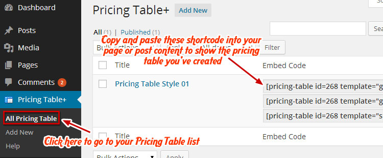 Pricing Table Embed Code